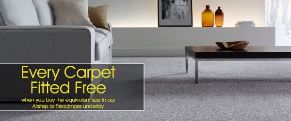 All Carpets Fitted Free When Bought With Airstep or Treadmore Underlay