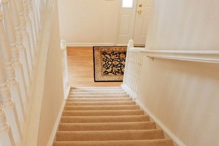 carpet on stairs and porch laminate