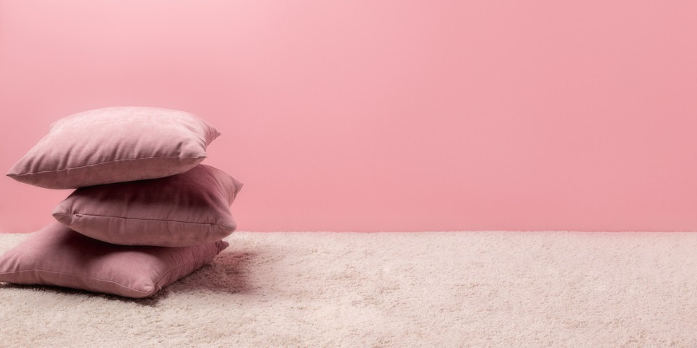 pink wall and furniture