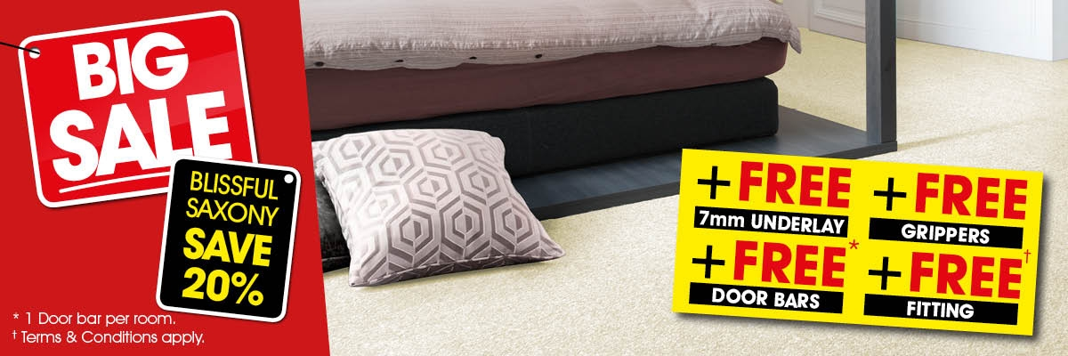 Big Sale - Blissful Saxony 20% Off + Free 7mm Underlay + Free Grippers + Free Door Bar + Free Fitting